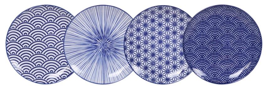 Tokyo Design Studio - Nippon Blue - Ontbijtborden Set - 20.6x2.2cm - 4 stuks